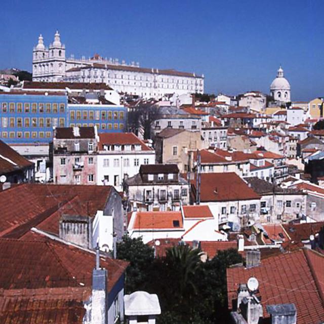 """Lisbon, Alfama district and Monastery de Sao Vicente de Fora"" stock image"