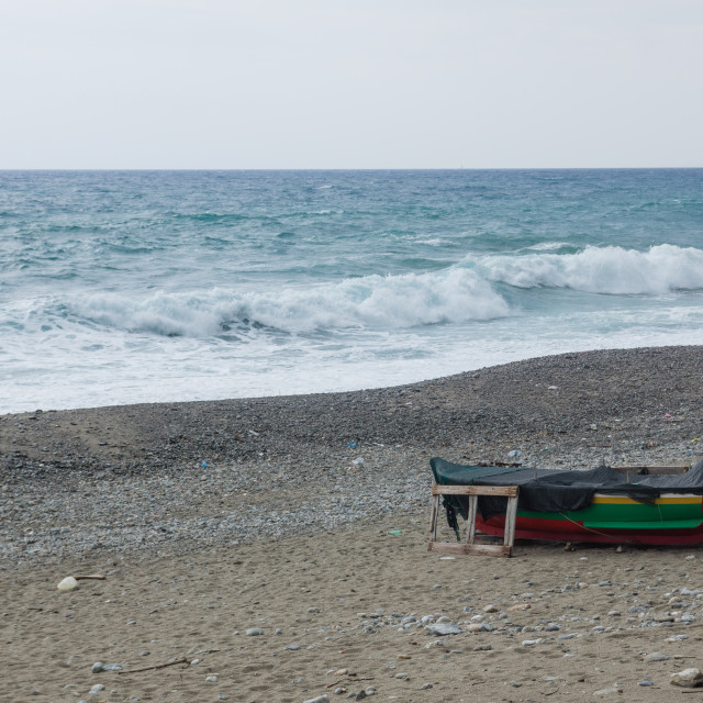 """""""Fisherboat on the beach"""" stock image"""