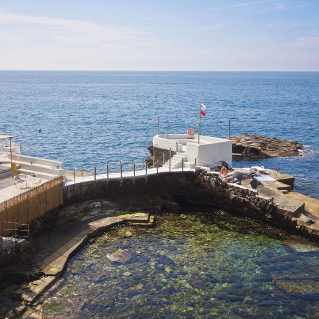 """Genova-Nervi - small bathing resort on the coastline"" stock image"