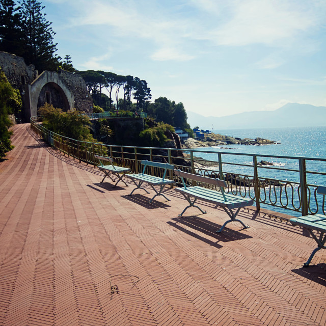 """Genova-Nervi, romantic spot along the walk promenade Anita Garibaldi"" stock image"