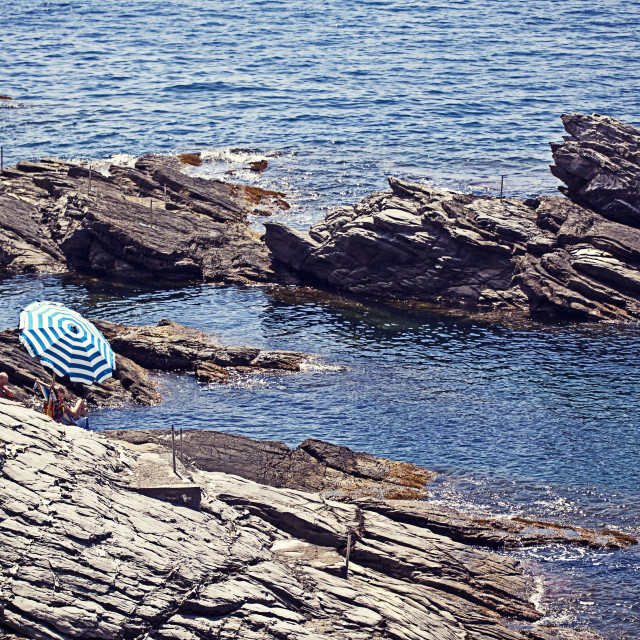 """Genova-Nervi - Summer view, sun bathing on the cliffs"" stock image"
