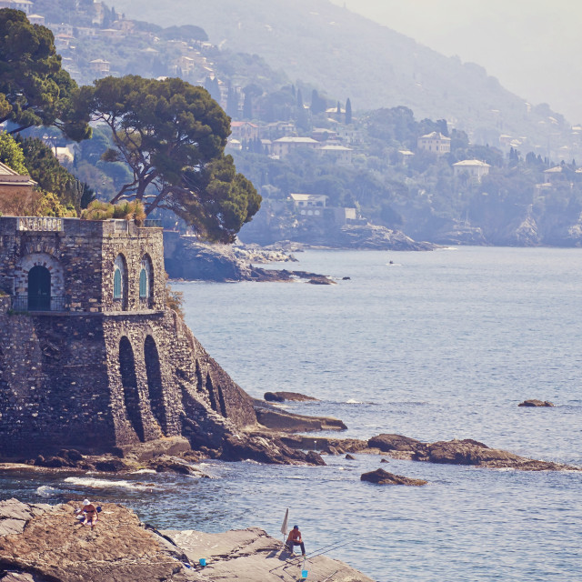"""Genova - Nervi - rocky coastline along the sea promenade"" stock image"