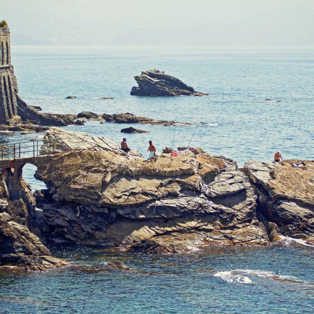 """Genova - Nervi - rocky coast along the sea promenade"" stock image"
