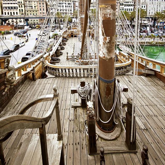 """""""Neptun galleon in Genoa Porto Antico"""" stock image"""