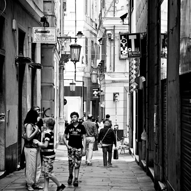 """""""people stroll in old town of Genoa, Italy"""" stock image"""