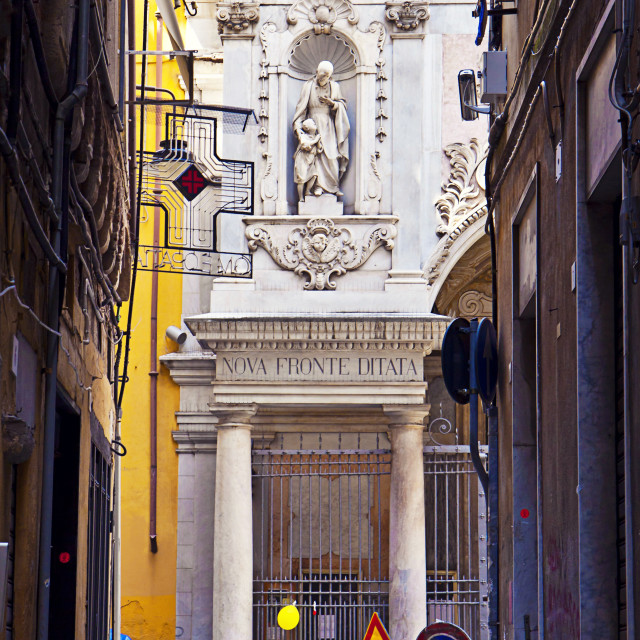 """""""Genoa, Italy - old town and St. Mary Magdalene church"""" stock image"""