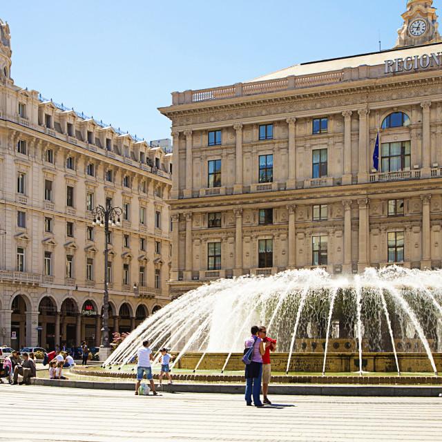 """""""Genoa - Italy, De Ferrari square"""" stock image"""