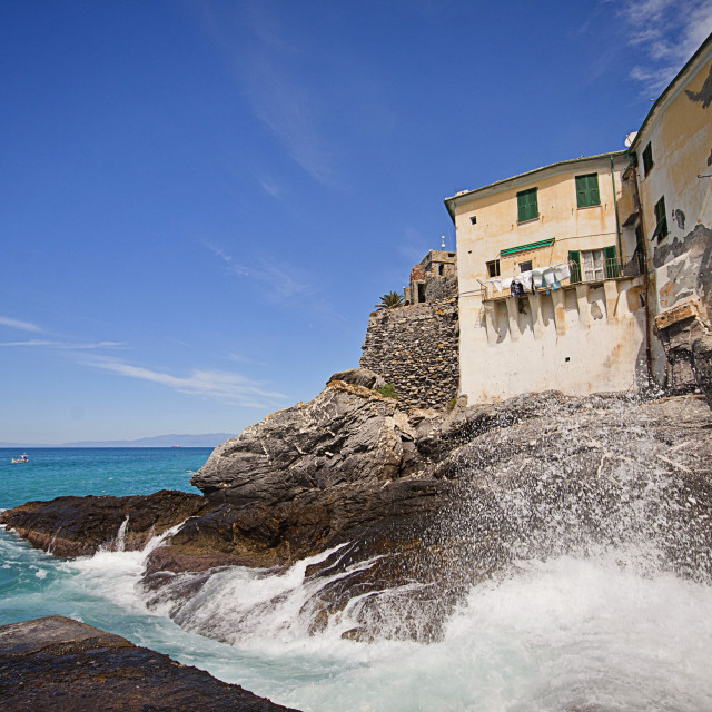 """Camogli, Italy - spectacular view of the rocky coast and ancient houses"" stock image"