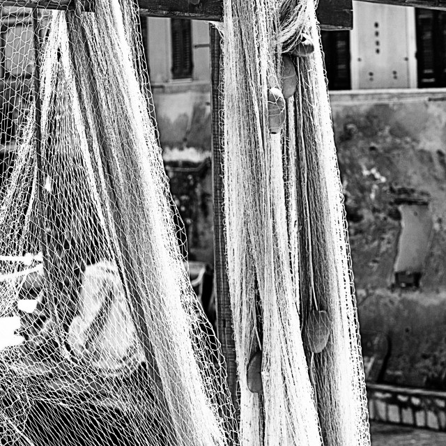 """Fishing nets drying in the sun"" stock image"