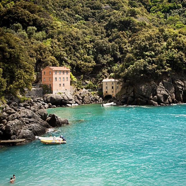 """""""Liguria, Italy - San Fruttuoso bay near Genoa"""" stock image"""