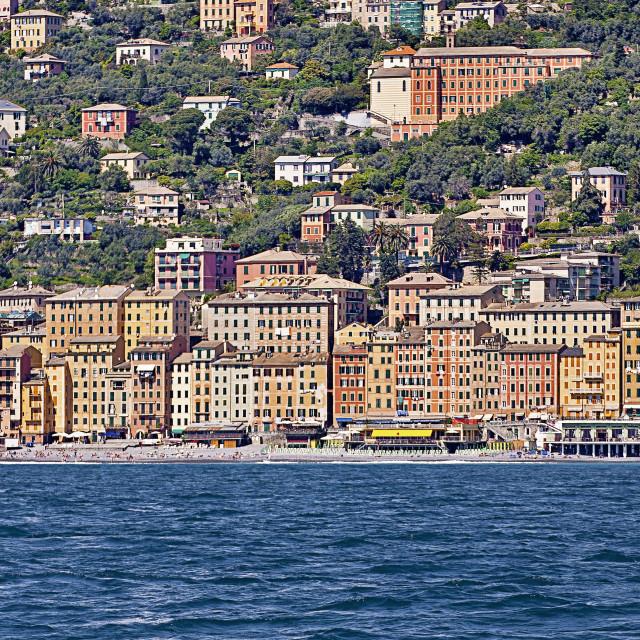 """Sea panorama of Camogli on the Ligurian coast, Italy"" stock image"