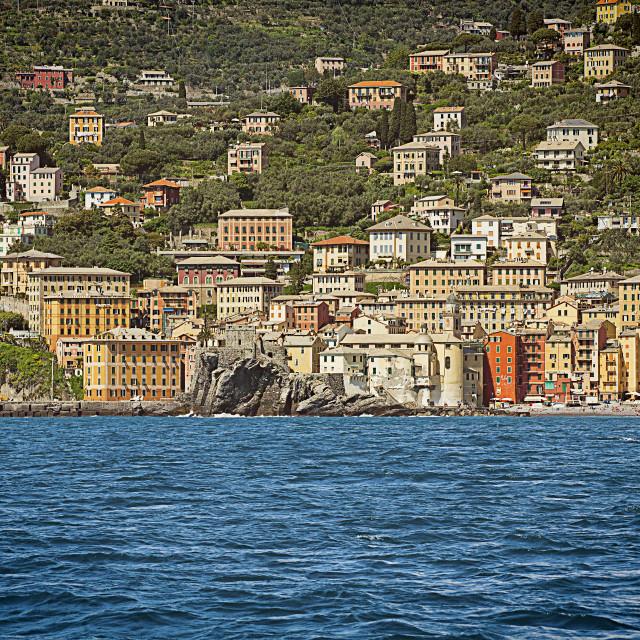 """Panorama from the sea of Camogli on the Ligurian coast, Italy"" stock image"