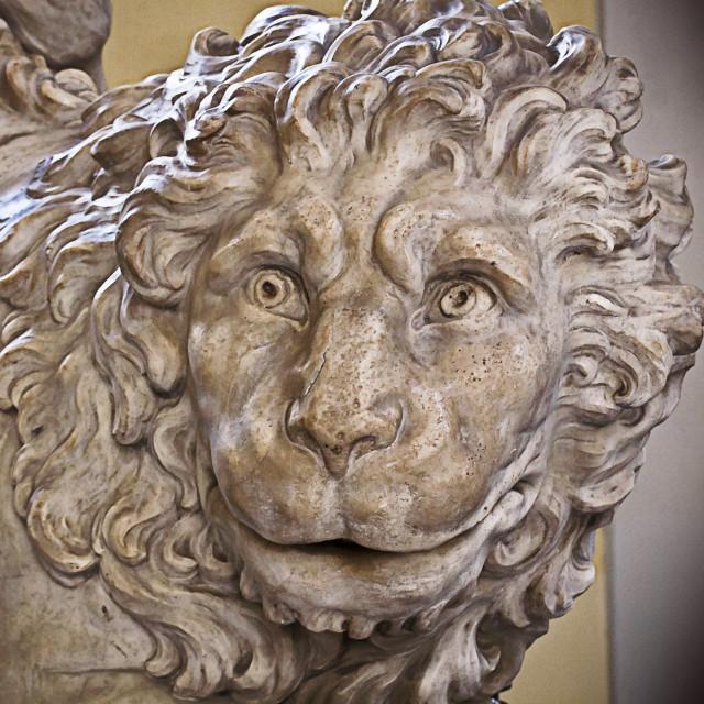 """Genoa, Italy - Old marble lion, Renaissance sculpture"" stock image"