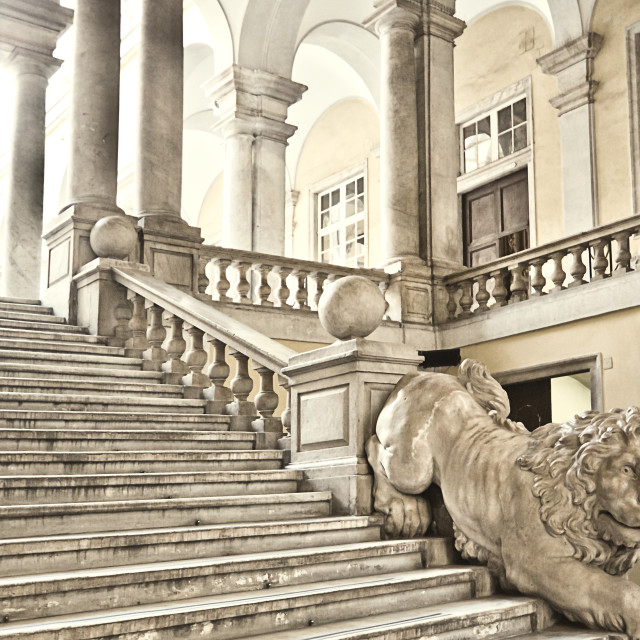 """Genoa, Italy - University of Genoa main staircase decorated with a marble..."" stock image"
