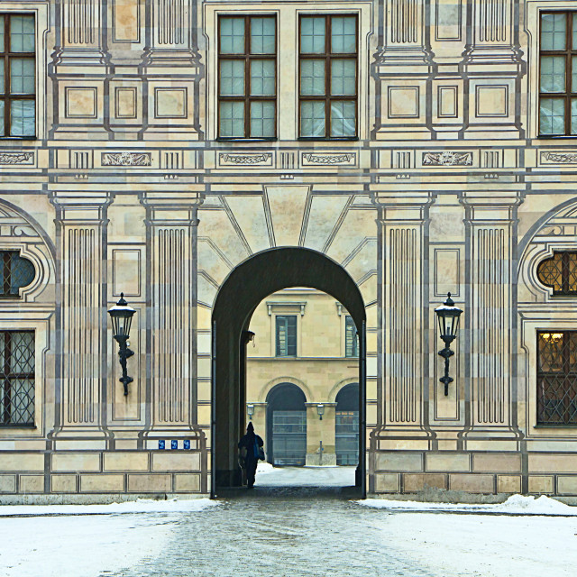"""Munich, Germany - Residenz Palace in winter, detail of the facade"" stock image"
