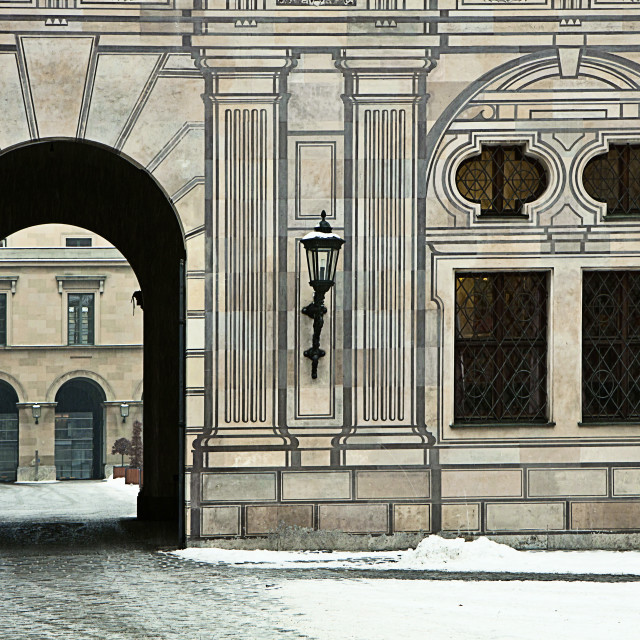 """Munich, Germany - Residenz Palace in winter, detail"" stock image"