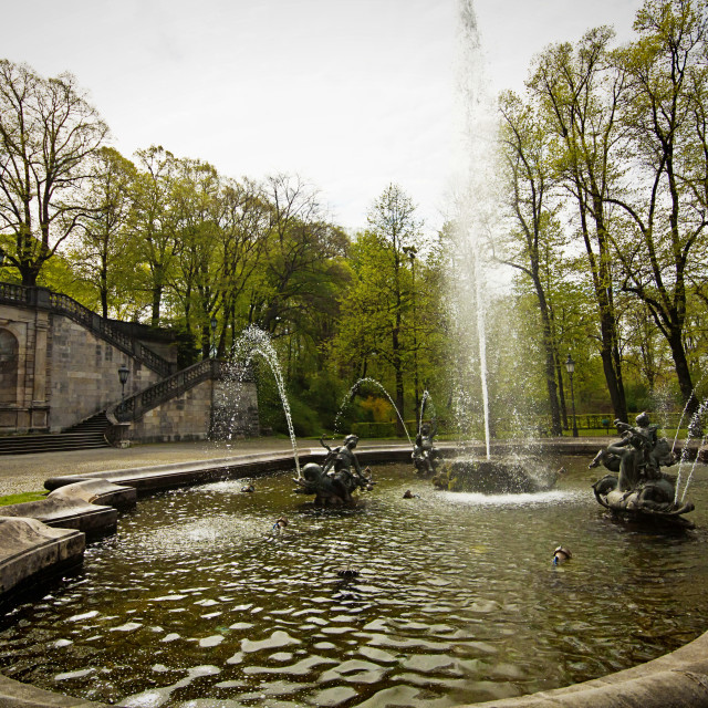 """Munich, Germany - Maximilian Park, putti fountain"" stock image"