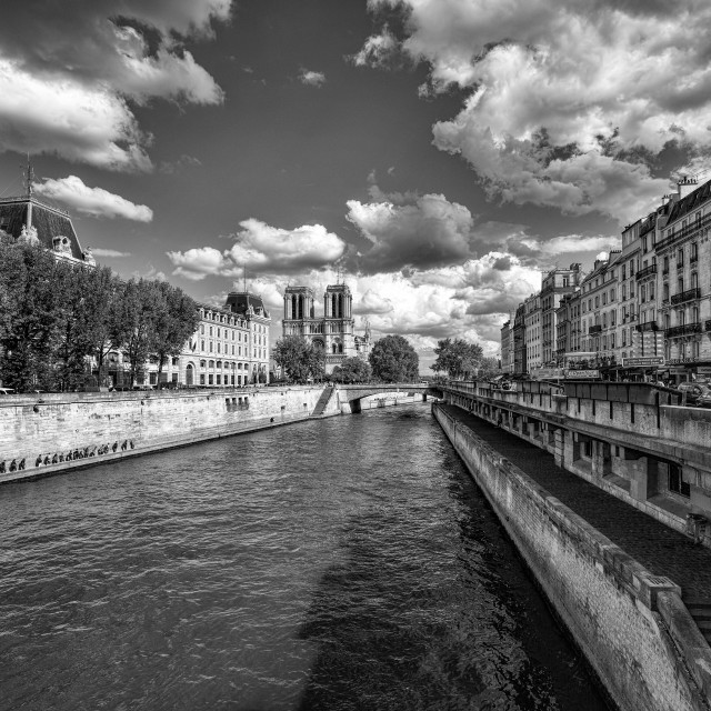 """Notre-Dame Paris in Black and White"" stock image"