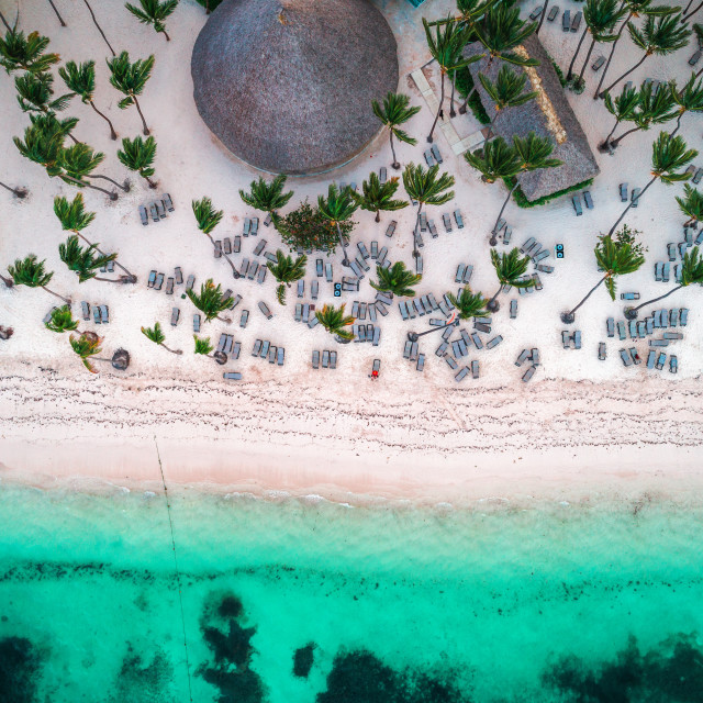 """Aerial view of tropical island beach"" stock image"