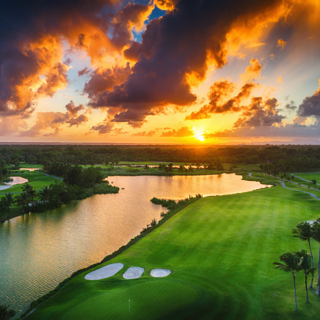 """""""Aerial view of tropical golf course at sunset, Dominican Republi"""" stock image"""