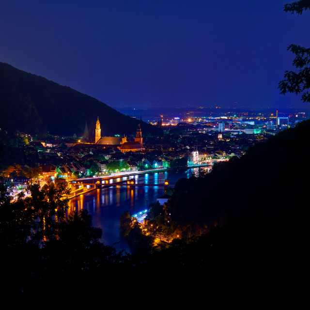 """Heidelberg Night view of the old town and river"" stock image"