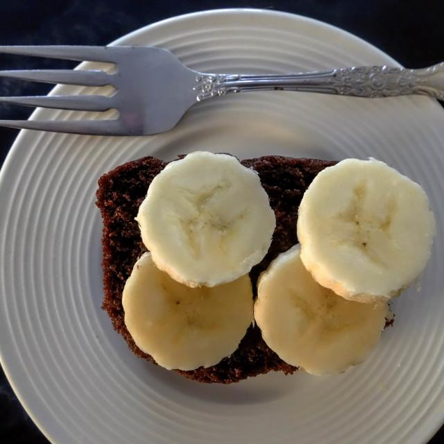 """""""Chocolate Cake with Sliced Banana"""" stock image"""