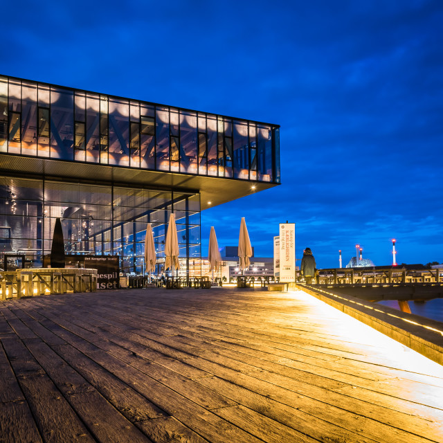 """The Royal Danish Playhouse at night. It is a theatre building fo"" stock image"