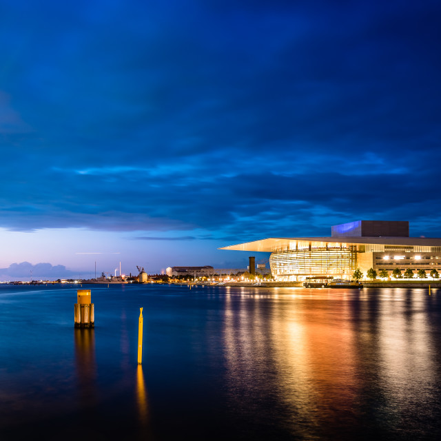 """The Copenhagen Opera Houseat sunset. It is the national opera ho"" stock image"