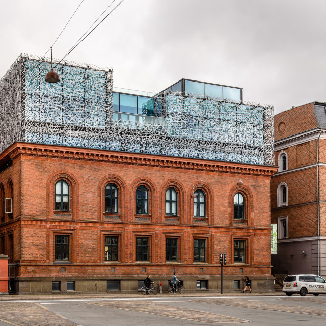 """Modern architecture extension of High School in Copenhagen a clo"" stock image"