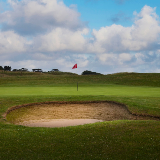 """""""Golf bunker and green"""" stock image"""