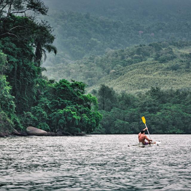 """""""Exploring by Kayak"""" stock image"""