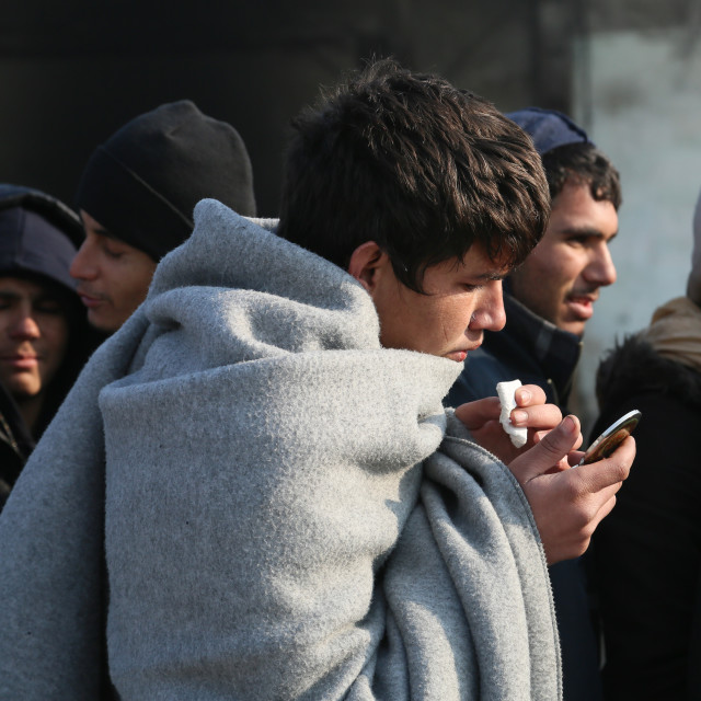 """""""Refugees during winter in Serbia"""" stock image"""