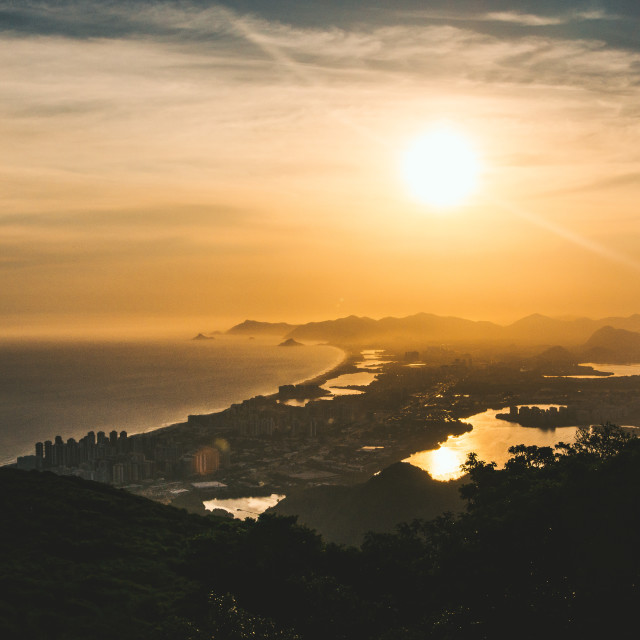 """Sunset over Barra da Tijuca"" stock image"
