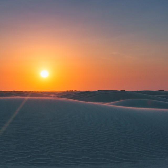 """""""Sunset in Lençóis Maranhenses"""" stock image"""