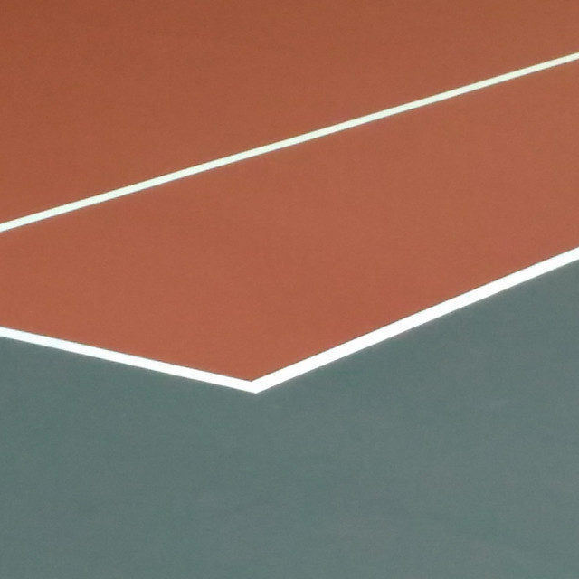 """Tennis Court ground level view"" stock image"
