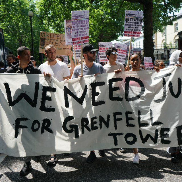 """""""The Day of Rage for Justice for Grenfell Tower protest and march in London"""" stock image"""