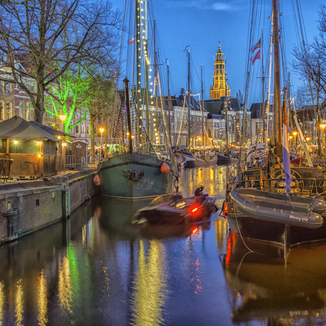 """""""Groningen at night with boats and lights"""" stock image"""