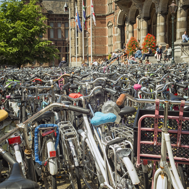 """""""Bikes in front of Dutch university"""" stock image"""