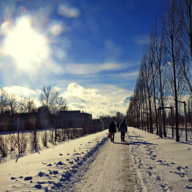 """""""Returning home from school in a cold and sunny winter day"""" stock image"""