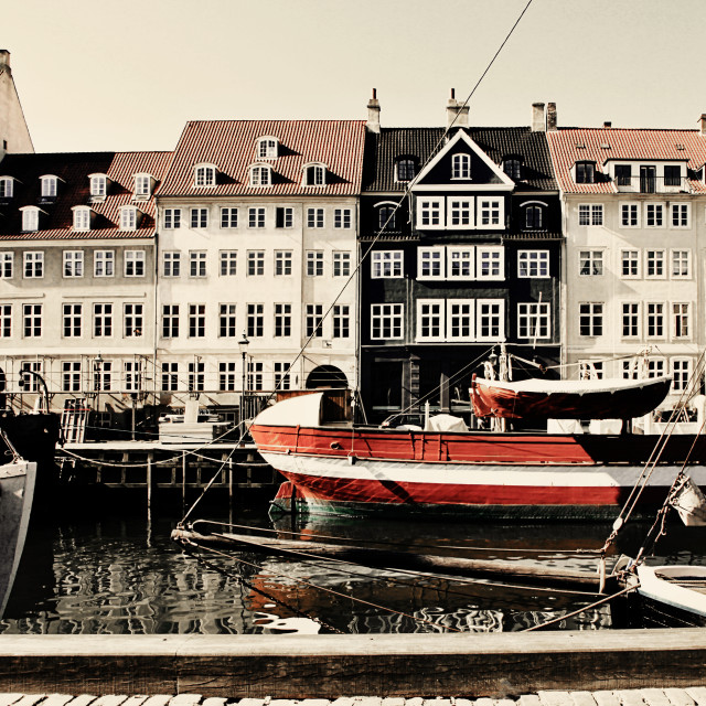"""Panoramic view of Nyhavn, famous touristic landmark of Copenhagen, waterfront..."" stock image"