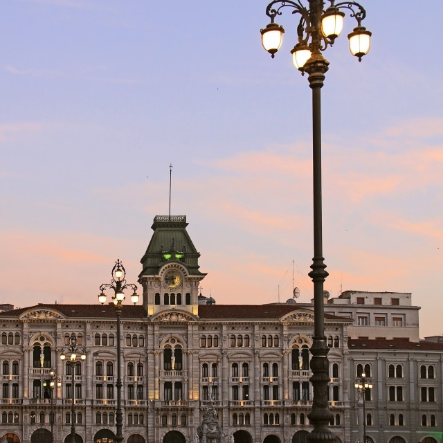 """Trieste, Italy - City Hall in Union of Italy square at twilight"" stock image"