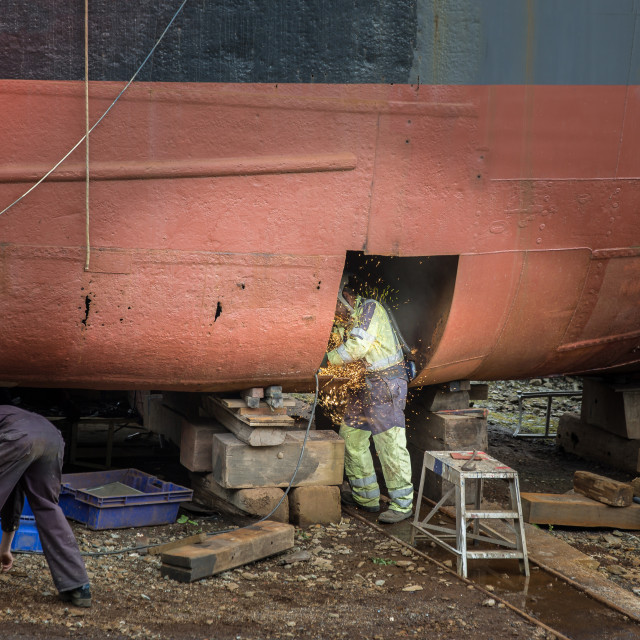 """Boat repairs"" stock image"