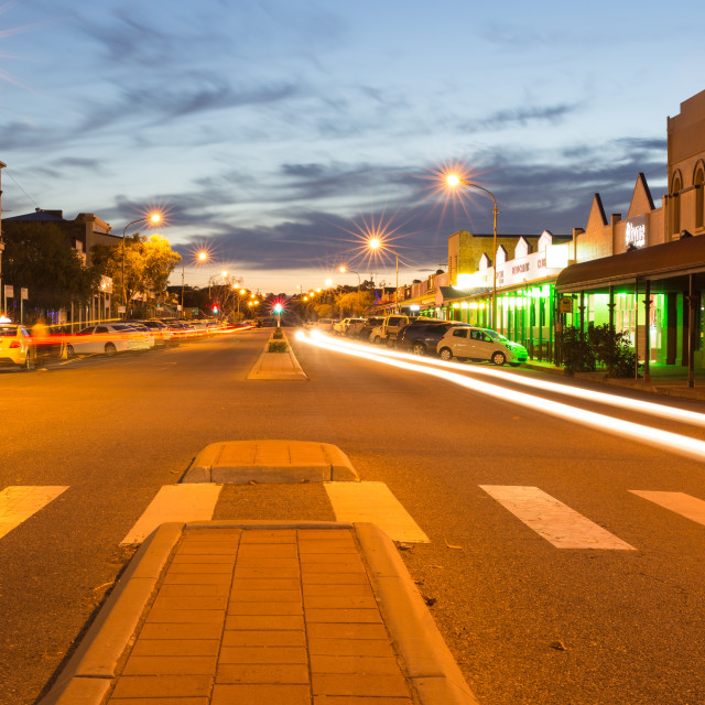 """Light trails, Broken Hill, Australia"" stock image"