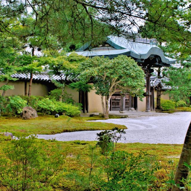 """Kyoto temple garden"" stock image"