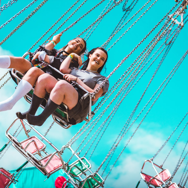 """Carousel skies, Isle of Wight Festival 2017"" stock image"