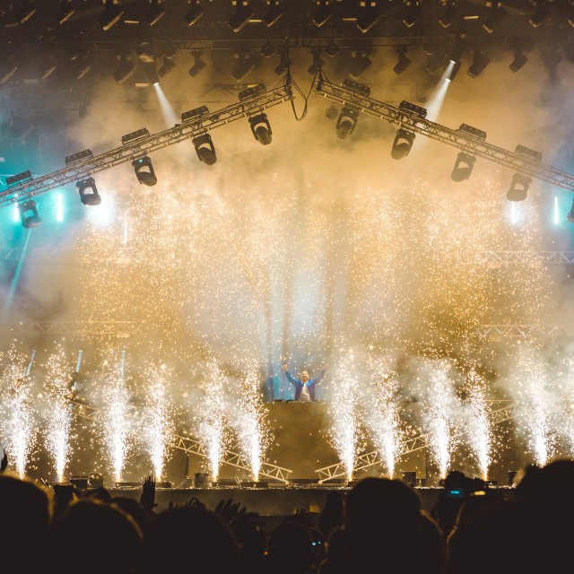 """David Guetta, Pyrotechnics, MainStage performance, Isle of Wight Festival 2017"" stock image"
