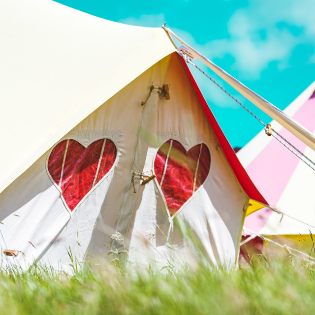 """Cozy Camping, Isle of Wight Festival"" stock image"