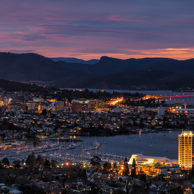 """Hobart by night"" stock image"