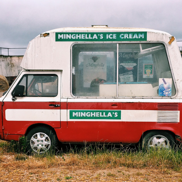 """Abandoned ice cream van"" stock image"