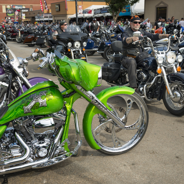 """""""Sturgis, South Dakota - August 8, 2014: Riders in the main street of the city of Sturgis, in South Dakota, USA, during the annual Sturgis Motorcycle Rally"""" stock image"""